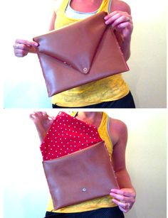 DIY clutch polka dots leather