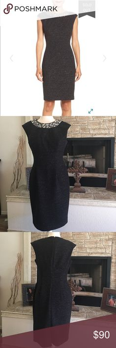 "Eliza J embellished sparkle knit sheath dress 18"" armpit to armpit, 37"" from shoulder to bottom, fully lined Eliza J Dresses Midi"