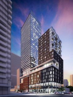 The building proposed will have 443 condominum units, and there will be an 8 floor base/podim which will front to King Street West, there is a slight step up on the podium that carries through to the Spadina side of the tower.