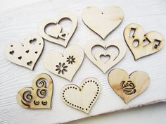 Set of hearts craft hearts plywood craft heart by TheWoodenWorld