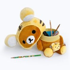 [Rilakkuma - Chocolate] Plush Gadget Storage Box / Trinket Box / Pen Pencil Holder (9.8 inch height)