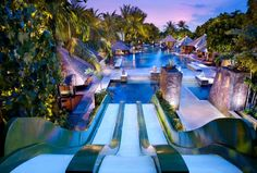Hard Rock Hotel Bali was definitely designed with kids in mind. Photo by Hard Rock Hotel Bali. Hotel Swimming Pool, Hotel Pool, Swimming Pool Designs, Hard Rock Hotel, Hard Rock Bali, Hotels And Resorts, Best Hotels, Hotels With Pools, Piscina Do Hotel