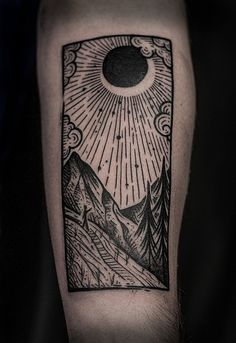 THIS BUT WITH THE MOUNTAIN WITH HUMAN HOLES MANGA woodcut tattoo - Google Search