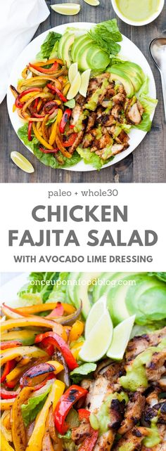Paleo and Low FODMAP. A lighter version of your regular chicken fajita, this chicken fajita salad with avocado lime dressing is sure to become a summer favourite in your home. #lowFODMAP #paleo #Mexican #summersalad #summer #summermain #quick #easy #quickandeasy #weekendmain #lunch #special #lunch #girlymain #girlylunch #onceuponafoodblog