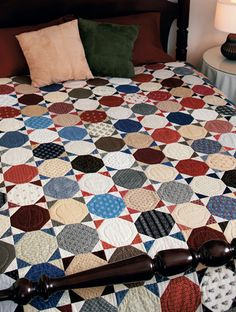 a reproduction snowball quilt - looks like a Victorian tiled floor