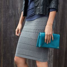 It's sweater (skirt) weather. Easily incorporate texture into your day-to-day with a knit pencil skirt. #ootd