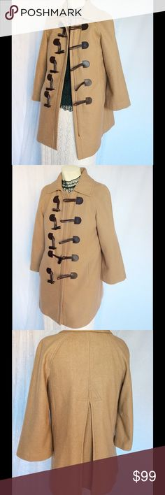 ANTHROPOLOGIE parka zippered wool beige COAT 4 Super sale!! End of winter! Composition: Wool 58%, polyamide 33%, 9% other fibers. Lined in a red cotton fabric. In pristine condition, no piling, fading, or other problems. Bundle to save!!❤️ Jackets & Coats Pea Coats