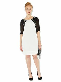 Jewelled front monochrome dress Monochrome, Dresses For Work, Plus Size, Jewels, Clothes, Summer, Fashion, Outfits, Moda