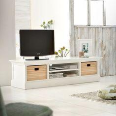 Meuble TV blanc et pin 160 Britz
