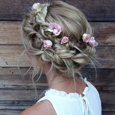 Messy, Boho Braided Updo with Flowers