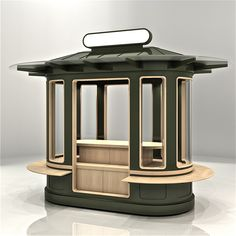 Exterior grade retail merchandising unit fabricated from powder coated sheet metal and treated hardwood. www.tonyhortondesign.com