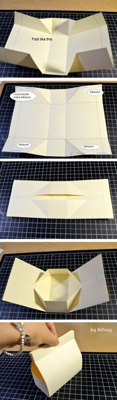#papercraft #paperfolding Silvey's Craftroom: really cute folded box. No cutting. Favor bag.