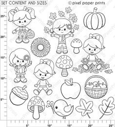 Autumn Girls Digital stamps Clipart Fall Line art