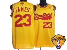 Mitchell and Ness Cavaliers #23 LeBron James Yellow Throwback The Finals Patch Stitched NBA Jersey