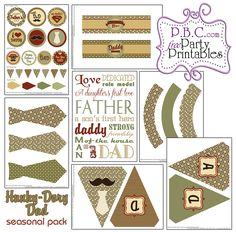 HUNKY DORY DAD SEASONAL PACK Hunky Dory, Party Printables, Fathers Day, Daddy, Playing Cards, Packing, Seasons, Holiday Decor, Free