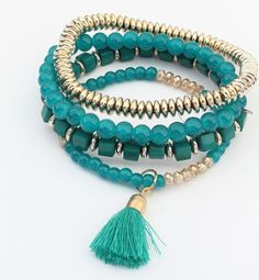 Turquoise Tassle Bracelet Set New with tags retail bracelets. The color is a little bit of a darker greenish turquoise than the picture is showing. Very cute bracelets and perfect for summer! Includes four bracelets Jewelry Bracelets Fashion Bracelets, Fashion Necklace, Fashion Jewelry, Women Jewelry, Style Fashion, Fashion Women, Fashion Beads, Color Fashion, Latest Fashion