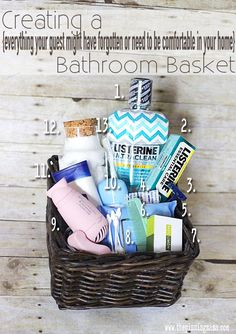 Creating The Perfect Guest Basket for the Bathroom – The Pinning Mama Guest Room Baskets, Guest Basket, Bathroom Baskets, Bathroom Ideas, Bathroom Remodeling, Welcome Baskets, Gift Baskets, Guest Room Essentials, Basket Organization