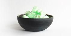 Soul bowl with extras ♥ dark outside, frosted and shiny glaze inside ♥ Aisälädäsigns, Stuttgart, Germany ♥
