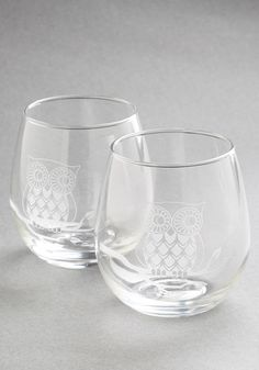 Owl Have the Red Wine Glass Set. You and your best friend always have such a hoot catching up over a nice Pinot Noir sipped from this sweet pair of stemless wine glasses. #white #modcloth