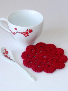 *** RED CROCHET COASTER ***  for crochet coaster set of 4 * dining room decor *nice housewarming gift  The coaster set is 100% ACRYLIC  approx. 11.5cm