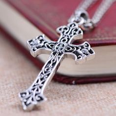"""Men's Sterling Silver Carved Cross Necklace with Sterling Silver Anchor Link Chain 18""""-30"""""""