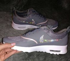 9db2837e6b833 Items similar to Swarovski Bling Nike Air Max Thea Women s Nike Shoes  custom with Crystal Swarovski Rhinestones on Etsy