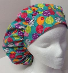 Birthday Balloons Print Bouffant OR Scrub Cap Surgical Surgery Hat #Handmade