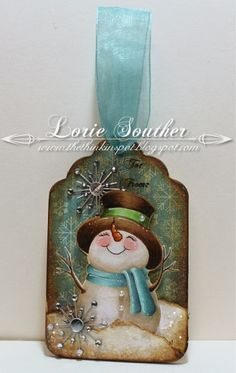 Inspiration for painted spoons. Happy snowman with top hat and scarf The Thinkin' Spot: Sweet Little SnowmanUse image from old Christmas card for tag! (ask others for their old Christmas cards, specifically the fronts) this works great though for ALL card Old Christmas, Christmas Gift Tags, Christmas Ornaments, Recycled Christmas Cards, Christmas Projects, Holiday Crafts, Snowman Cards, Handmade Tags, Christmas Paintings