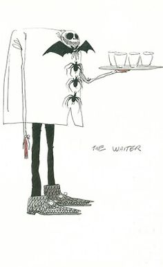 Tim Burton the waiter Style Tim Burton, Art Tim Burton, Tim Burton Artwork, Film Tim Burton, Tim Burton Characters, Tim Burton Sketches, Graphic Design Illustration, Illustration Art, John Kenn