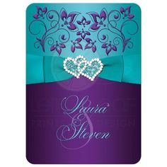 Purple, turquoise blue and white floral wedding invites with aqua ribbon, bow, jeweled joined hearts, ornate scrolls and flourish.