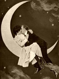 """It's only a paper moon.... Often a fixture at fairs, parties and carnivals, people sat in the crescent of a smiling """"paper moon,"""" as if lifted to the stars. A photographic phenomena primarily of the early half of the 20th century, it captivated the imagination of a world pre-Photoshop and gave many a memorable image of great times."""