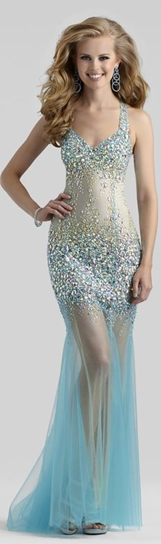 2014 Clarisse Couture Aqua Nude Sheer Tulle Beaded Sequin Sexy #Prom #Gown 4304 | Promgirl.net