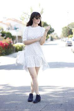 White Print Dress - Glam Latte