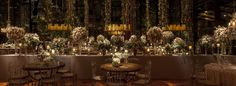 Romantic wedding decoration with strings light, flower arrangement  and candles