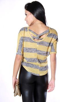 #1015store.com #fashion #style cut out back metallic knit sweater top-$10.00