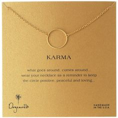 "Enjoy the refined elegance of the Dogeared ""Karma"" 14k Gold-Dipped Sterling Silver Necklace. A stunning gold-dipped hoop is attached to a gorgeous 18-inch chai…"