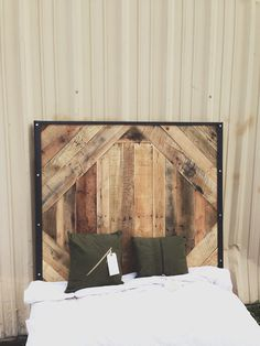 Reclaimed Wood Headboard for twin bed // queen, king and steel frame Geometric Design bedroom furniture