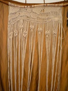 macrame - this for the top foot of your curtain, then sew fabric the rest of the way down - BOHO