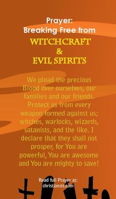 Prayer: Breaking free from Witchcraft and Evil Spirits and souls and trans-like meditation and transcend. A Spiritual Warfare Prayer. Prayer Verses, Faith Prayer, God Prayer, Prayer Quotes, Power Of Prayer, Prayer Room, Prayer Closet, Faith Quotes, Fervent Prayer