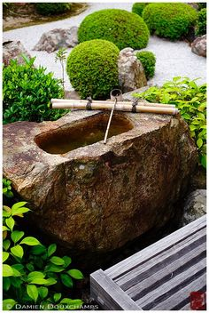 Terrace with stone water basin in zen garden, Taizo-in temple