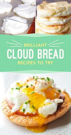 """So, """"Cloud Bread"""" Is A Thing And It's Actually Delicious(Three Ingredients Dinner) Low Carb Bread, Keto Bread, Low Carb Keto, Low Carb Recipes, Bread Recipes, Cooking Recipes, Healthy Recipes, Zone Recipes, Keto Fat"""