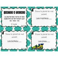 Cartes à tâches - pluriel au, eau, eu French Teaching Resources, Teaching French, First Year Teaching, French Grammar, Grammar And Vocabulary, Literacy Centers, Task Cards, Elementary Schools, Voici