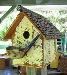 bird houses recycled materials - Google Search, good use for our old golf clubs