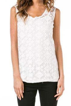 Super soft and comfortable sleeveless lace top with separate white camisole liner. Great for underneath a jacket or blazer or can be worn with your favorite denim or shorts.  White Lace Top by Monoreno. Clothing - Tops - Tees & Tanks Clothing - Tops - Sleeveless Illinois