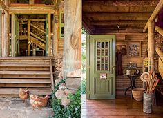 Entrada: Construída um pouco acima do nível do solo, a casa fica livre de umidade. Todas as madeiras são tratadas em autoclave.  À frente da escada de pínus estão galinhas criadas pelo casal de moradores. Hall: O cartaz na porta de entrada, da Hickmann, é (Foto: Edu Castello)
