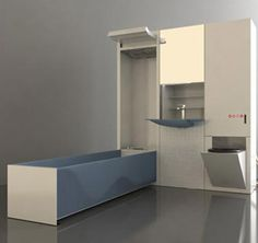 The Cirrus MVR modular bathroom is built around a central water recycling and purifying unit, so it saves water, too.