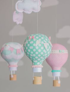 Pink and Aqua Baby Mobile Hot Air Balloon by sunshineandvodka
