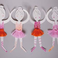 Get a template to make these cute and easy ballerina paper paper doll chains!