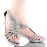 JJF Shoes Angel37 Silver Strappy Rhinestone Dress Sandal Low Heel Shoes *shoes for Hannah's Wedding