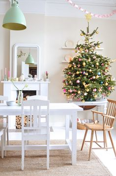 Love so much about this room | At Home in Love Christmas Tree With Coloured Lights, Christmas Tree On Table, Simple Christmas, Beautiful Christmas, Small Christmas Trees, Whimsical Christmas, Xmas Tree, Christmas Room, Christmas Time Is Here